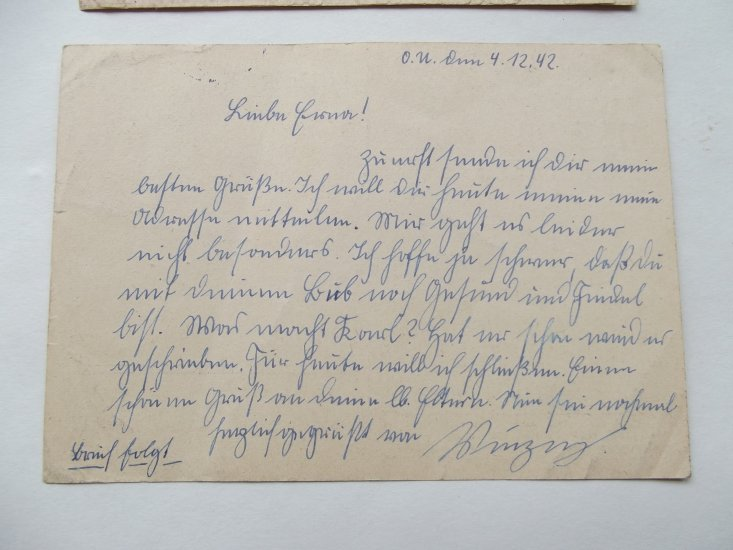 WW2 GERMAN POSTCARD & LETTER DATED 1942/43 - Click Image to Close